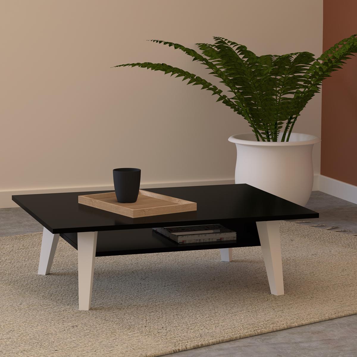 Table Basse  effet bois Noir et blanc