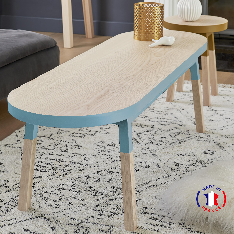 Table basse banc, 100% frêne massif bleu briac