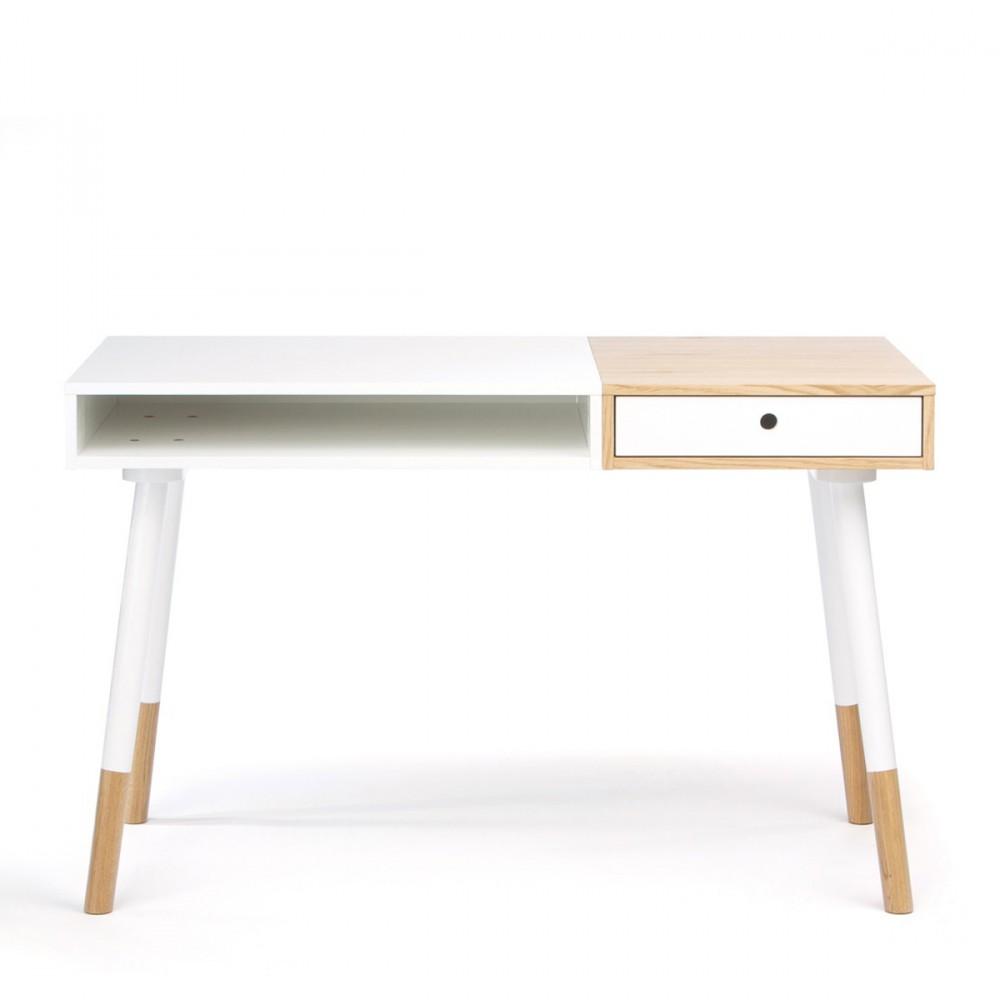 Bureau design bois et blanc