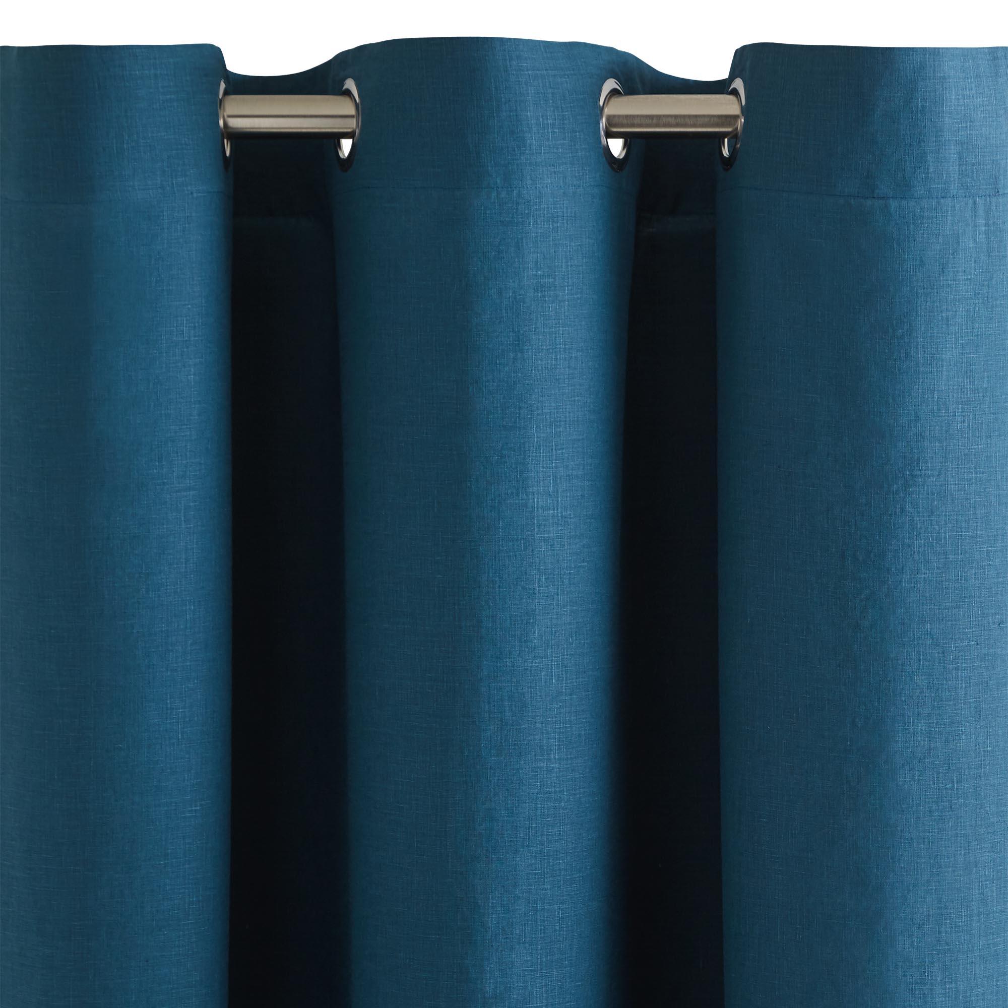 Rideau à oeillets 140x350 cm Bleu vert en Lin