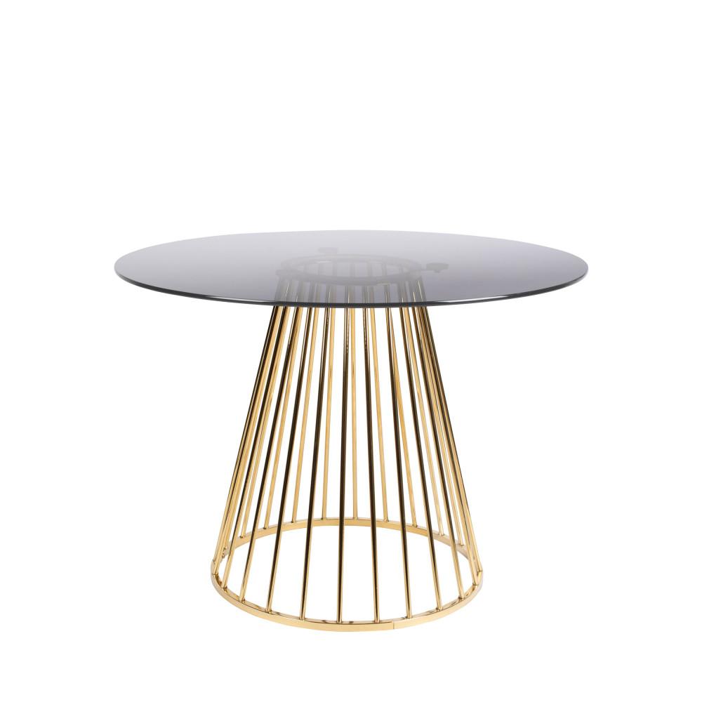 Table à manger en métal D104cm noir / or