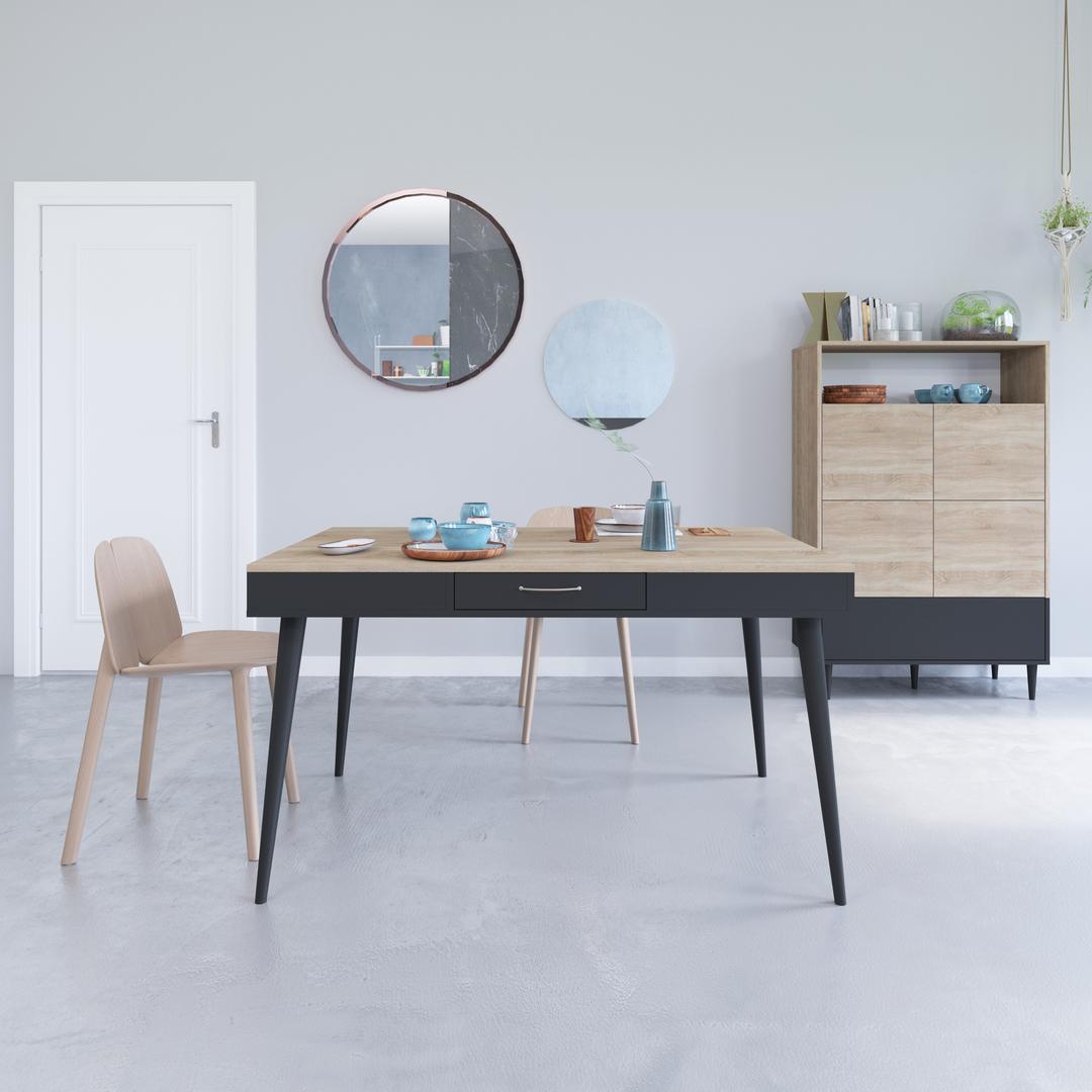 Table, Noir et Chêne naturel HORIZON