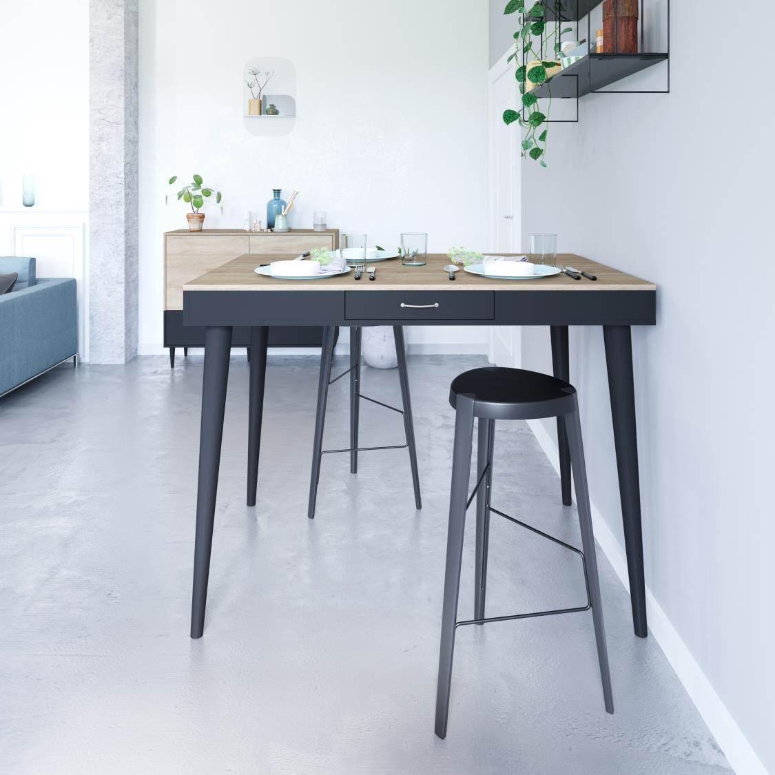Table, Chêne naturel et noir Panneaux de particules mélaminés