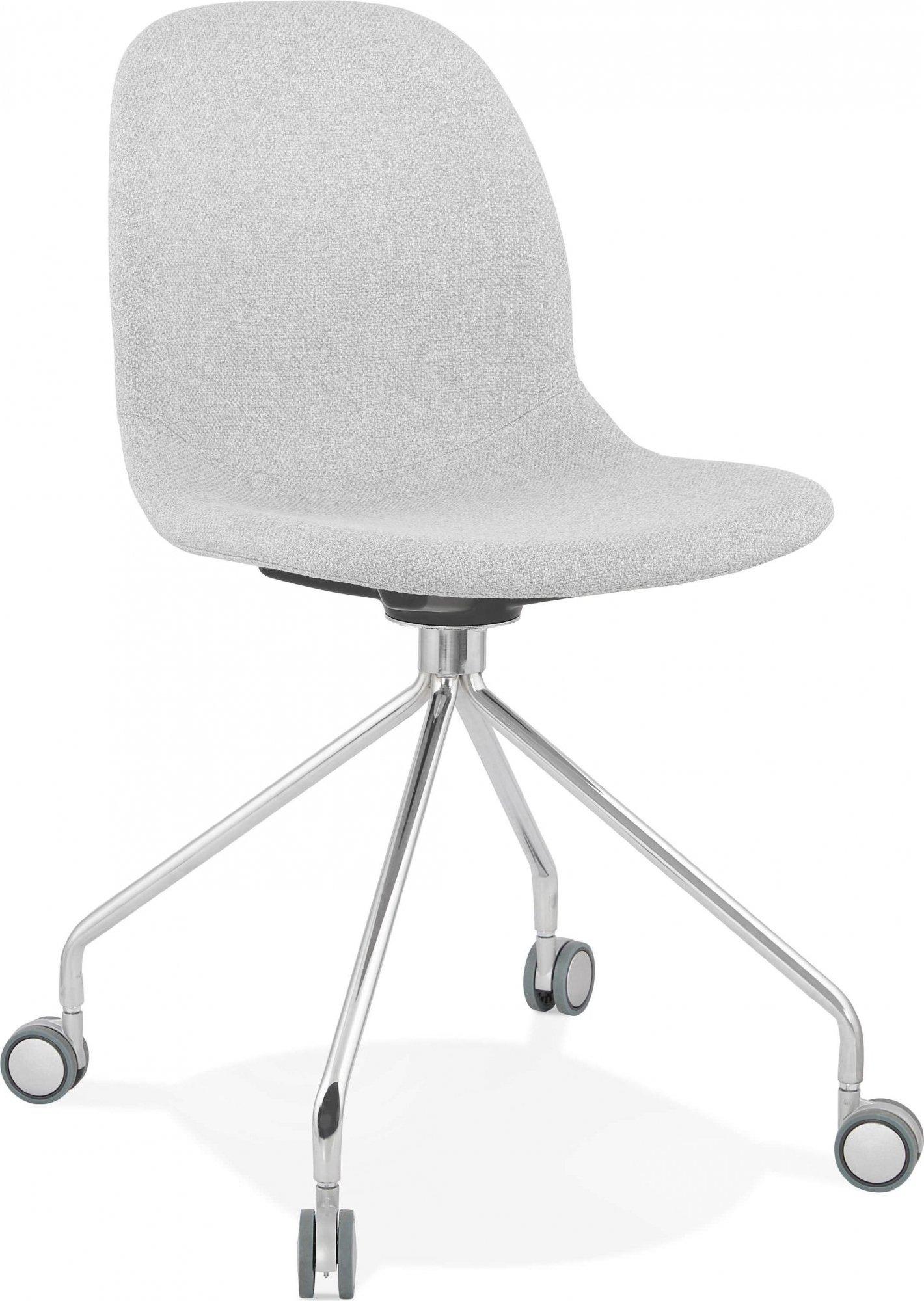 Chaise de bureau a roulettes rembourrée tissu gris clair