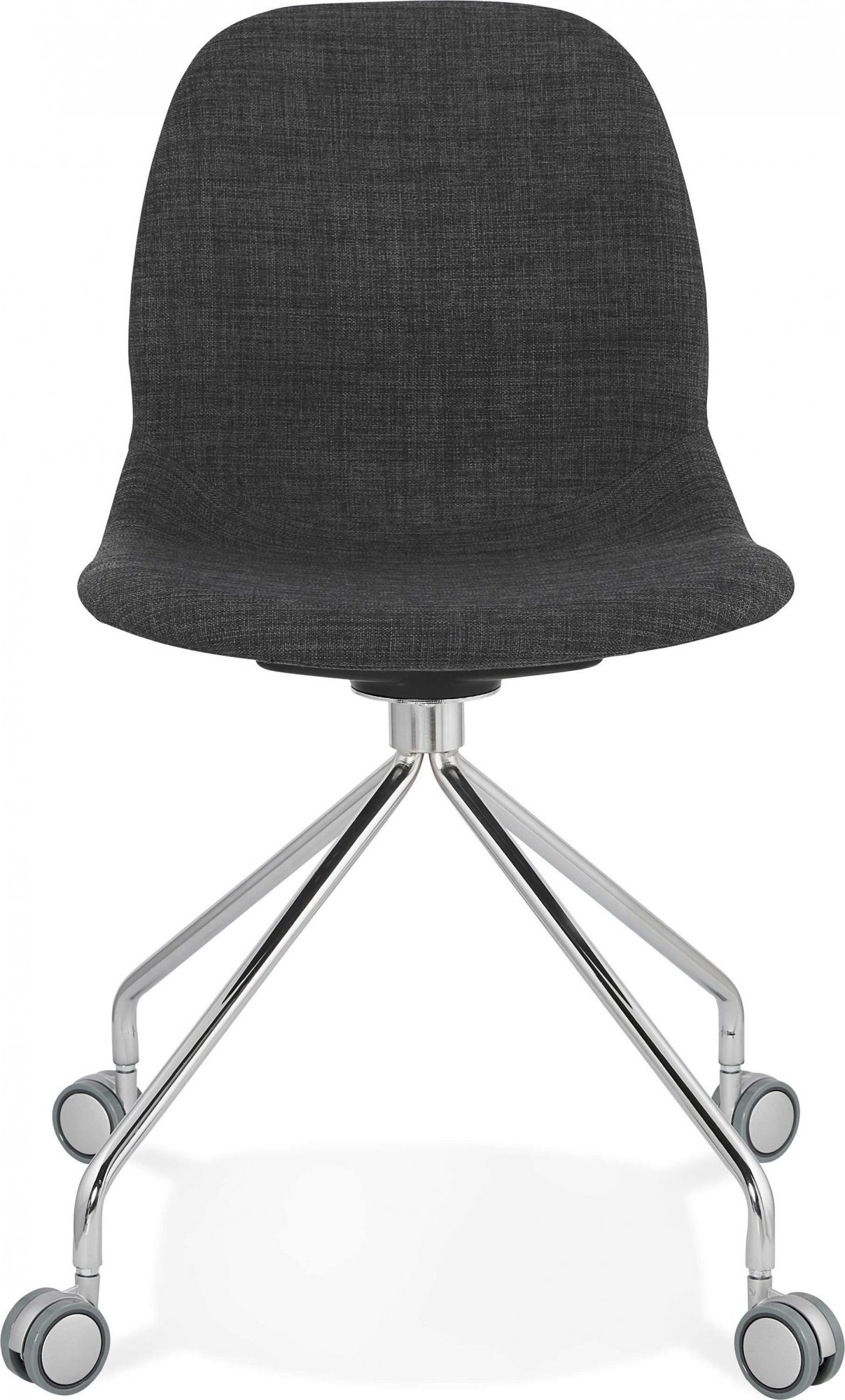 Chaise de bureau a roulettes assise rembourrée tissu gris