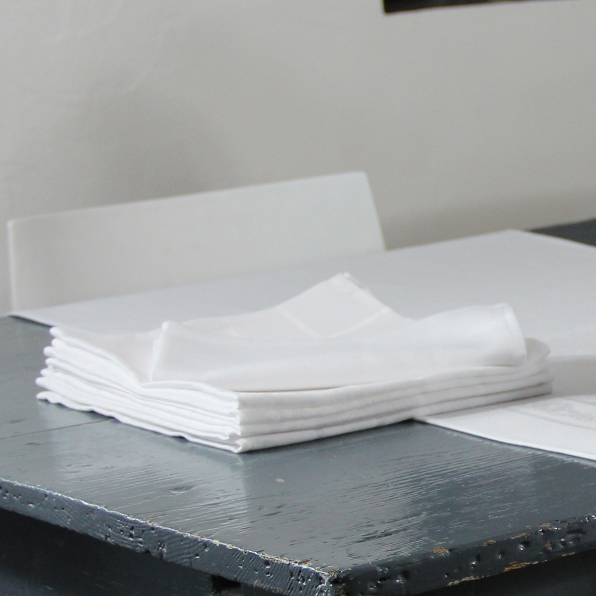 Serviette de table en polyester blanc 50x50