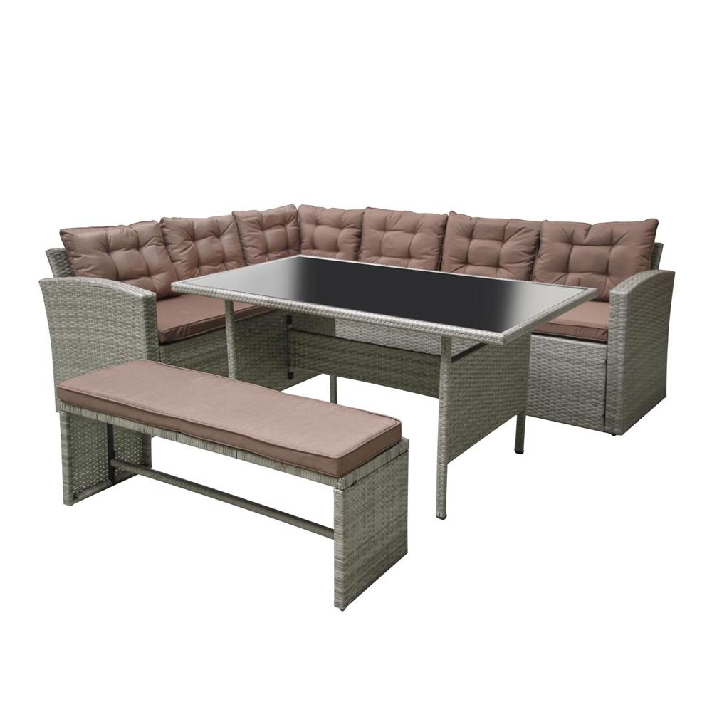 MOOREA - Salon de jardin d'angle 8 places en résine gris et marron