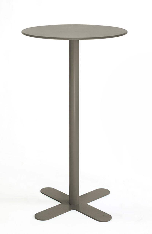ANTIBES - Table haute ronde en acier taupe D80