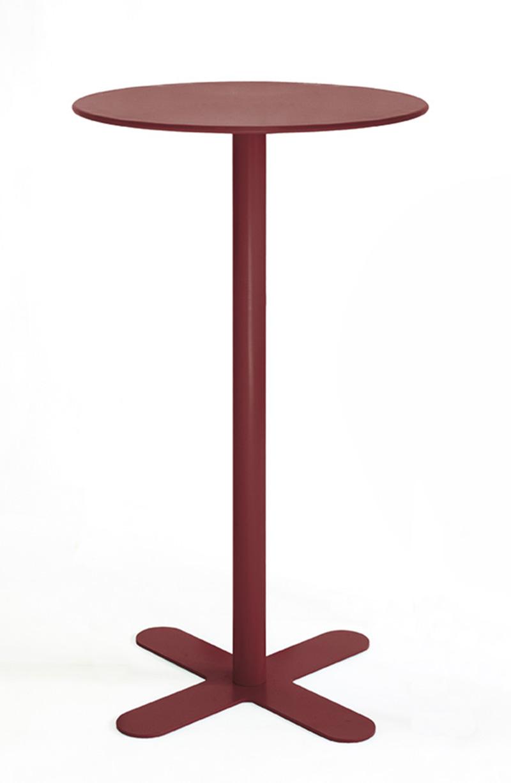 ANTIBES - Table haute ronde en acier rouge D80
