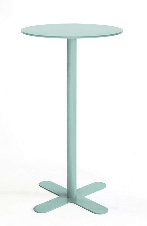 ANTIBES - Table haute ronde en acier vert D80