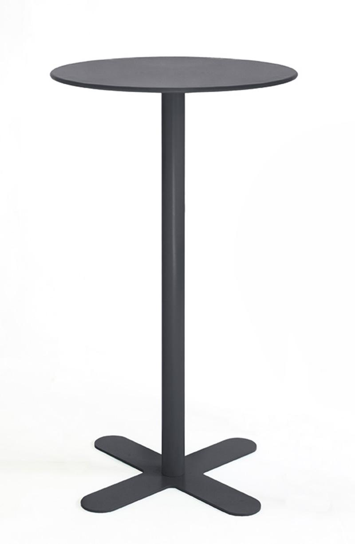 ANTIBES - Table haute ronde en acier gris D80