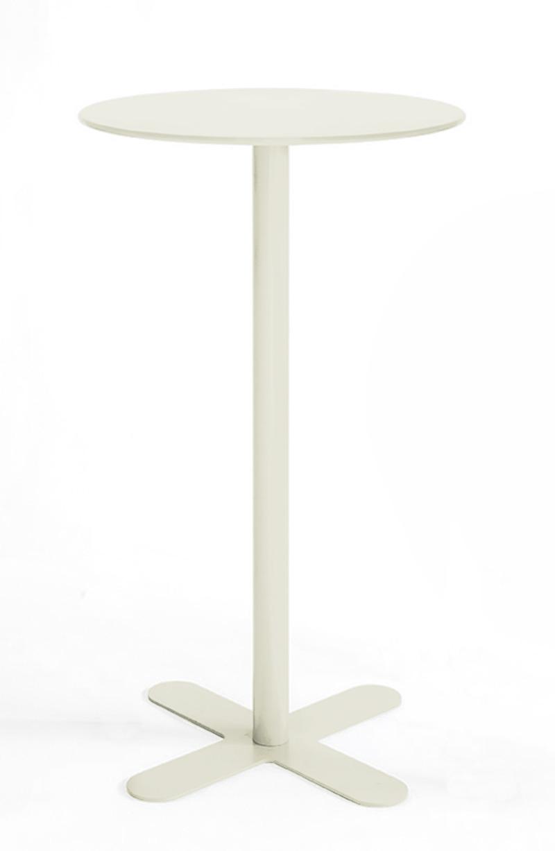 ANTIBES - Table haute ronde en acier blanc D80