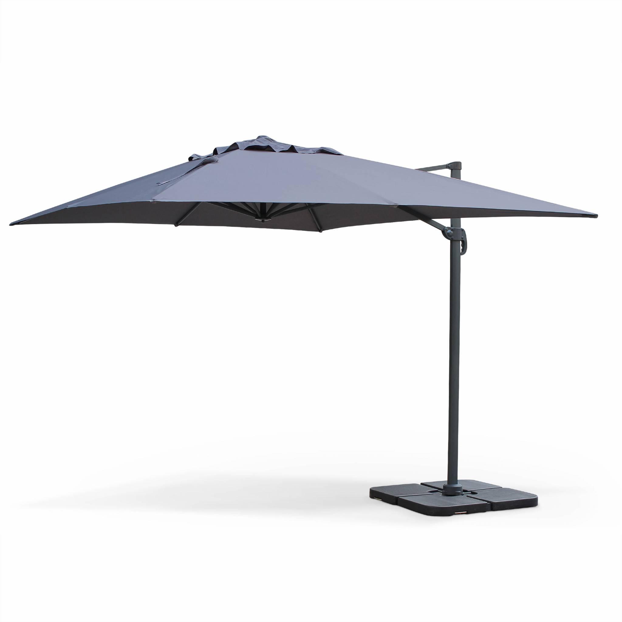 Parasol déporté en aluminium rectangulaire gris