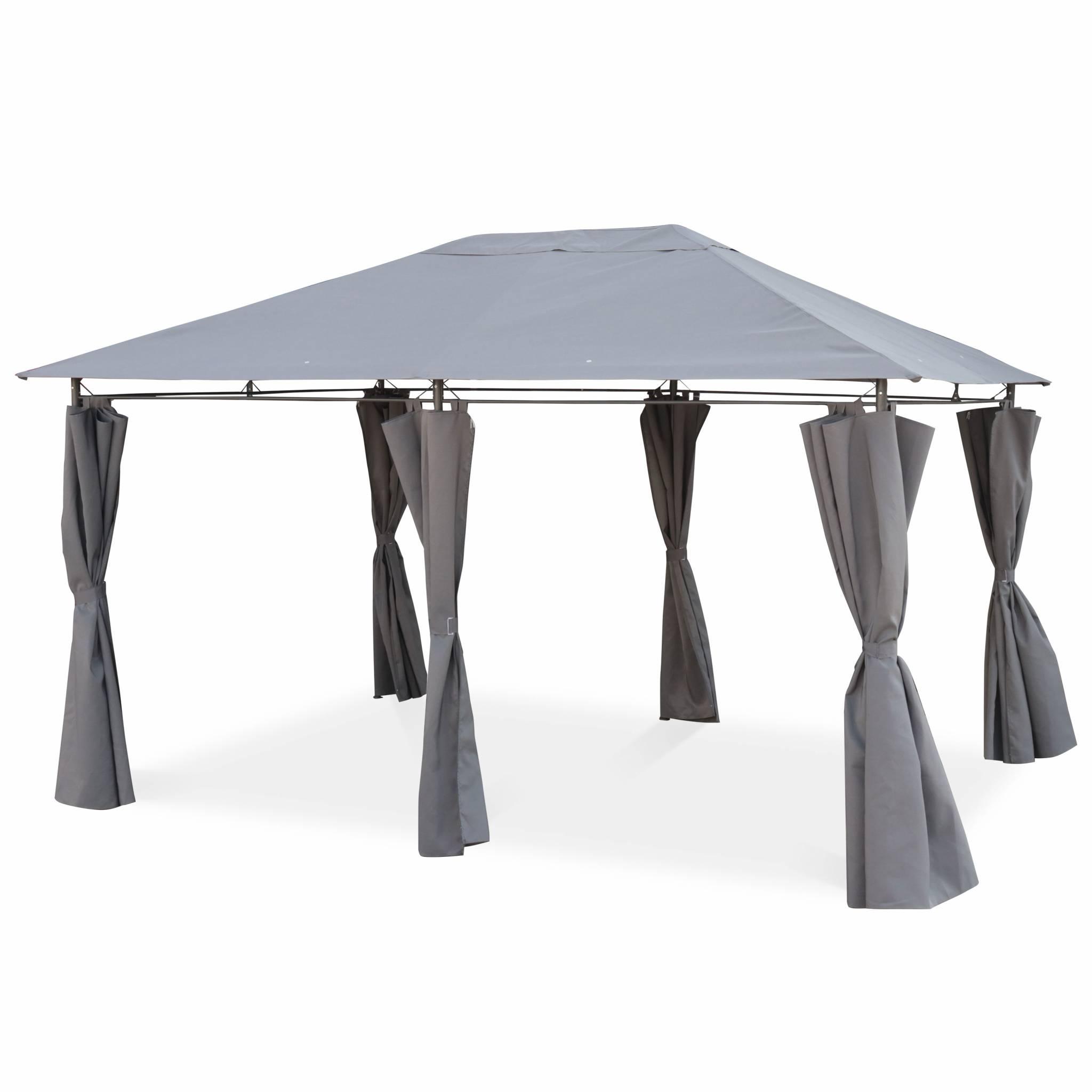 Pergola en acier renforcé avec rideaux en toile grise 3x4m