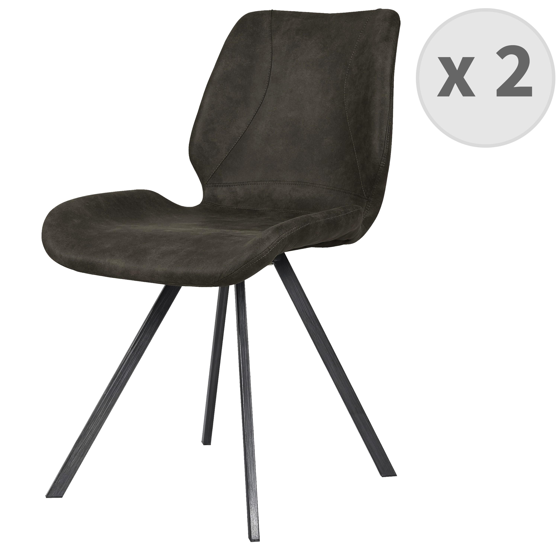 HORIZON-Chaise indus microfibre ébène vintage et noir (x2)