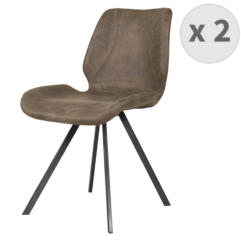 HORIZON-Chaise indus microfibre brun vintage et noir brossé (x2)