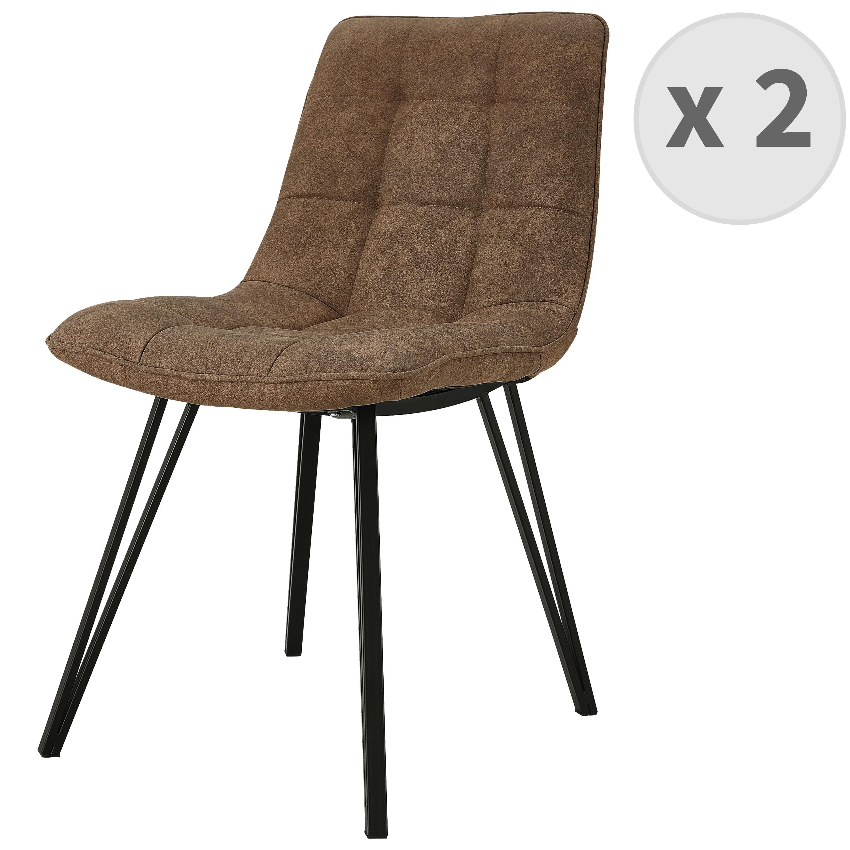 LILY-Chaise microfibre vintage brun pieds métal noir (x2)