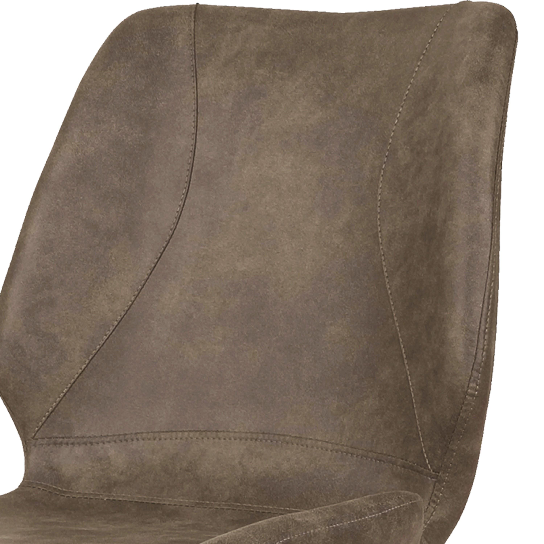 HORIZON-Chaise indus microfibre brun vintage et noir brossé (x4)