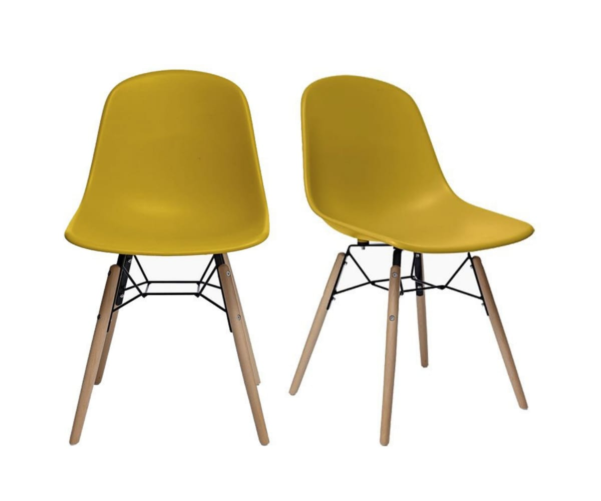 2 chaises scandinaves Moutarde