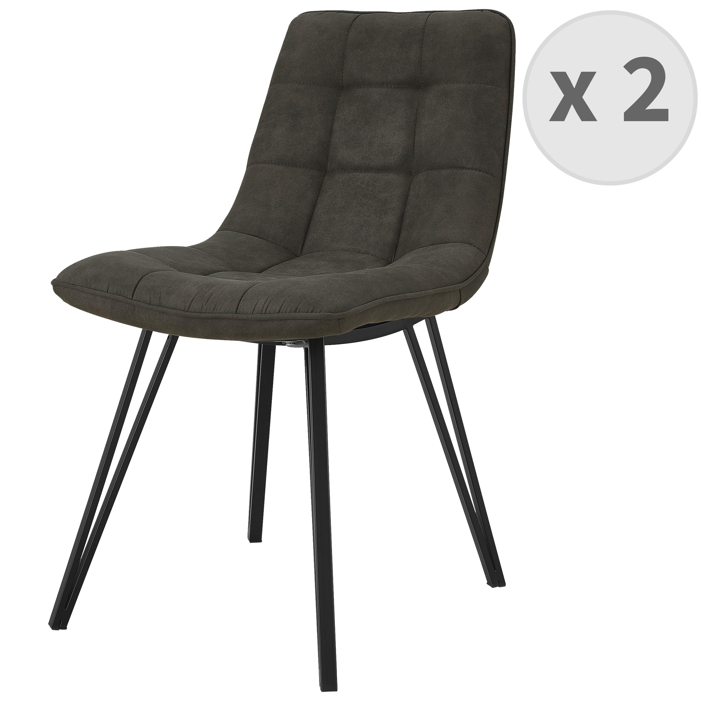 LILY-Chaise microfibre Ebène vintage pieds métal noir (x2)