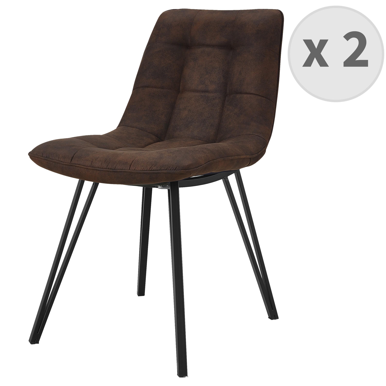 LILY-Chaise microfibre vintage café pieds métal noir (x2)