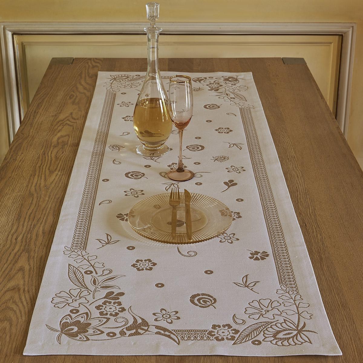 Chemin de table en lin/coton blanc 50x150