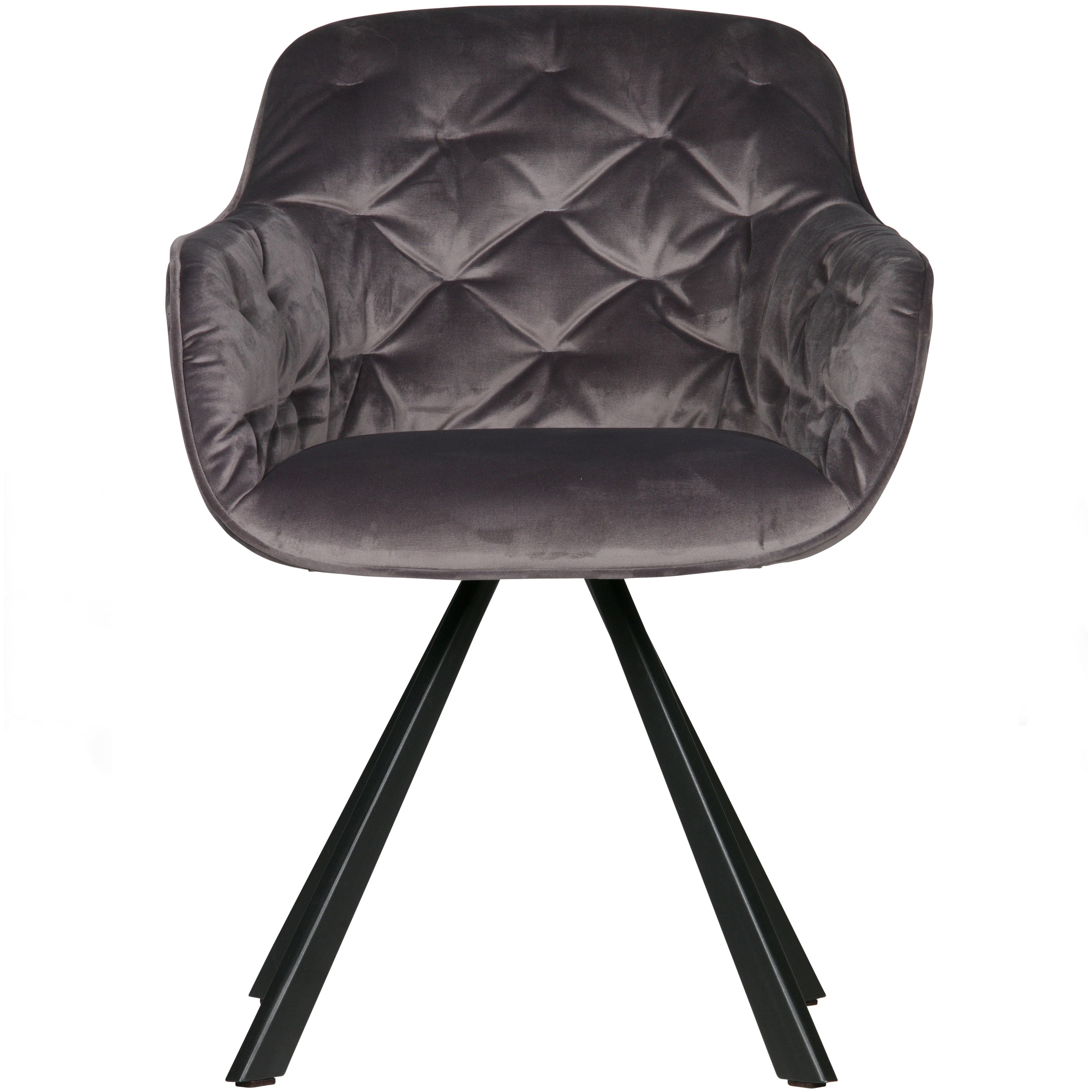 Fauteuil de table en velours gris anthracite