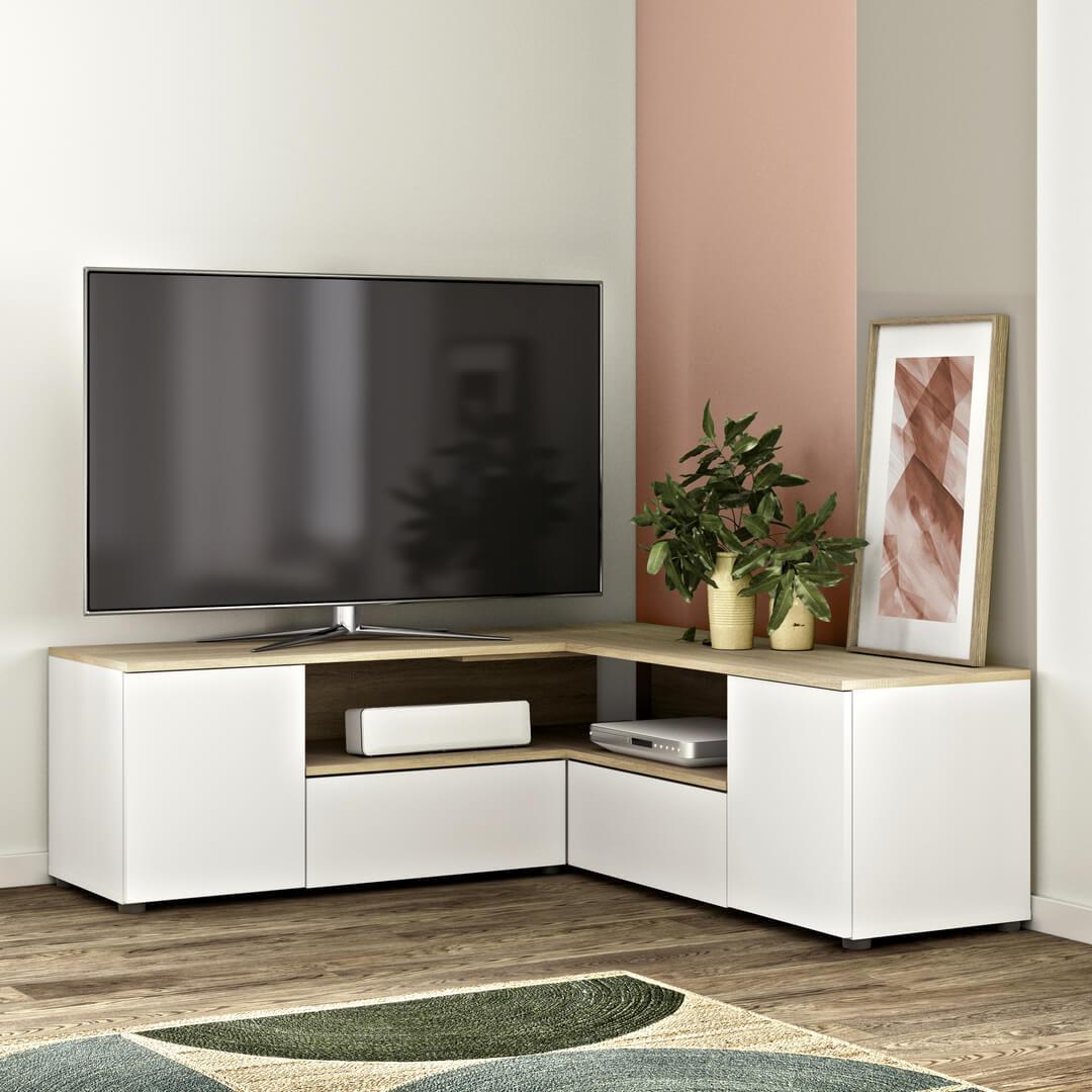 Meuble TV, Blanc et chêne naturel Panneaux de particules mélaminés