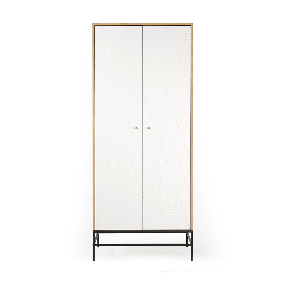 Armoire 2 portes en bois à motifs losanges blanc (photo)