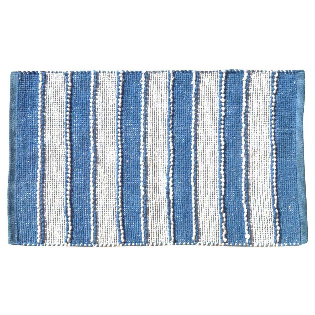 Tapis de bain à rayures verticales coton blanc bleu 80x50