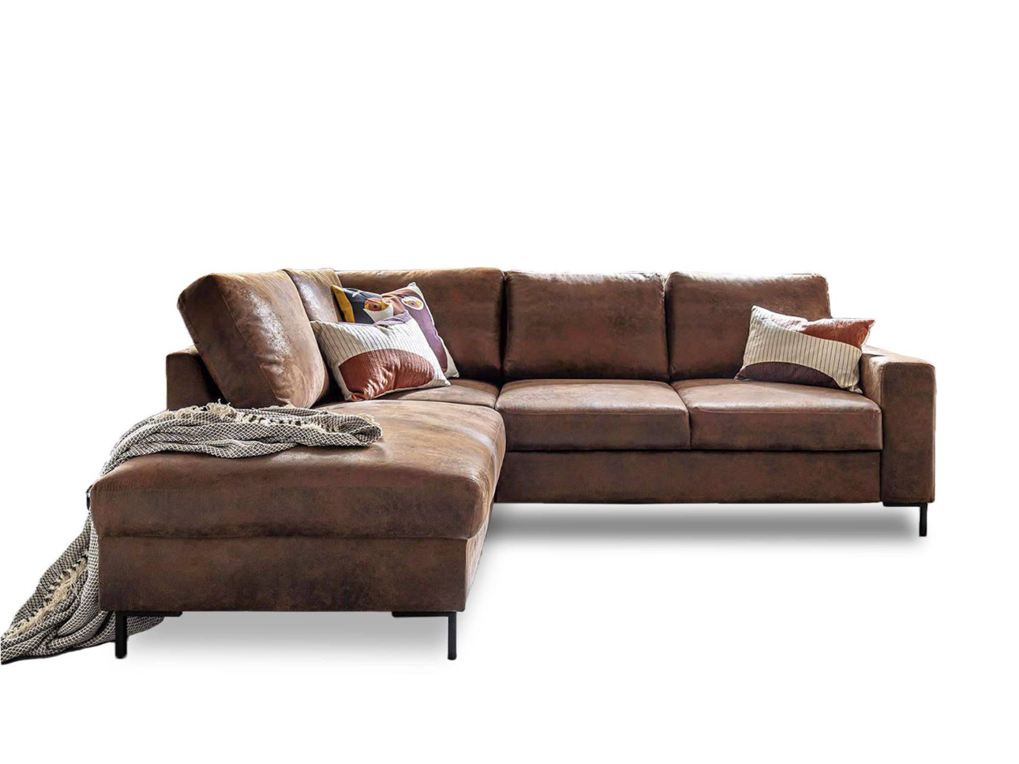 Canapé d'angle 5 places Marron Microfibre Contemporain Confort