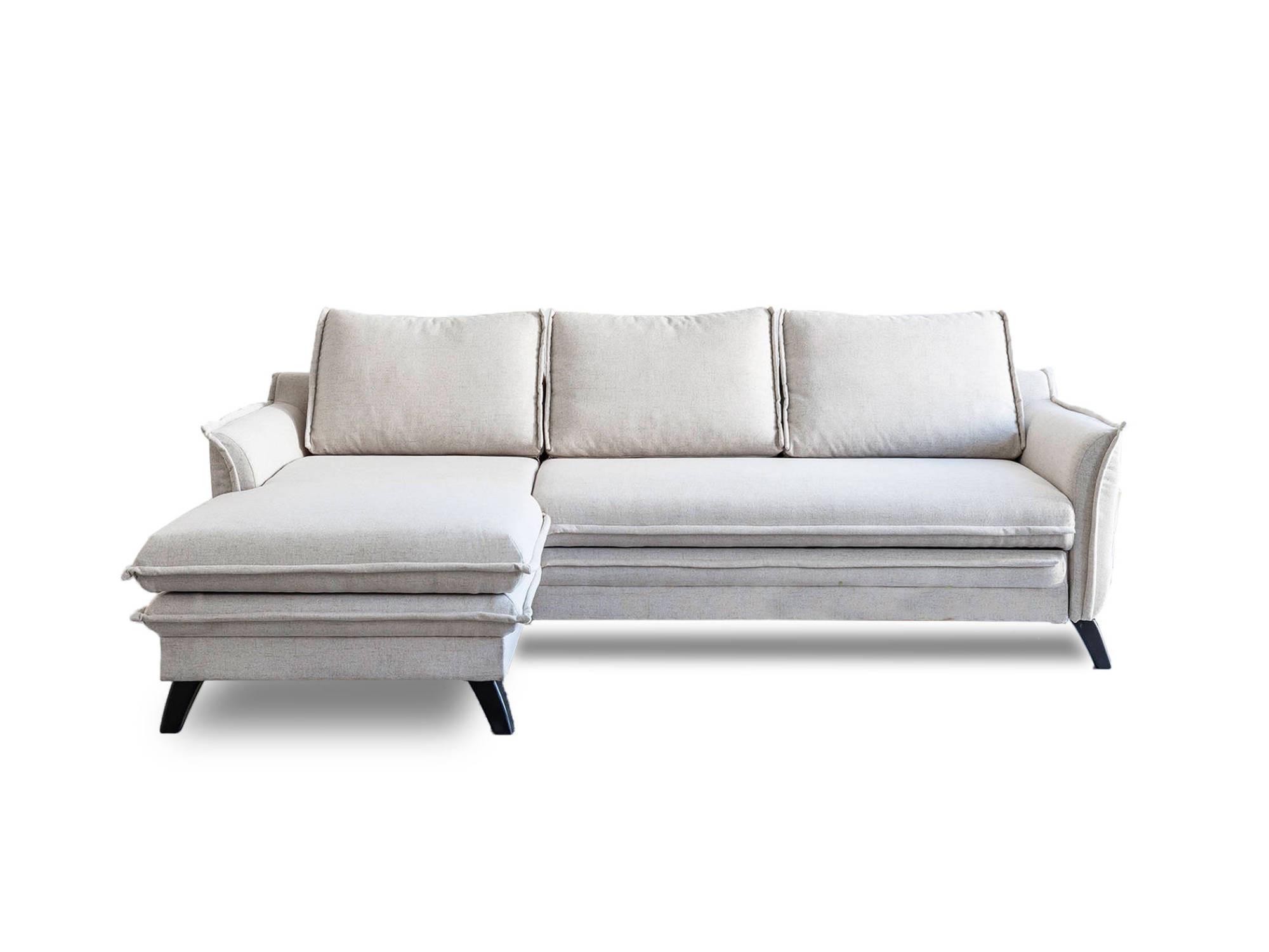 Canapé d'angle 4 places Beige Tissu Contemporain Confort
