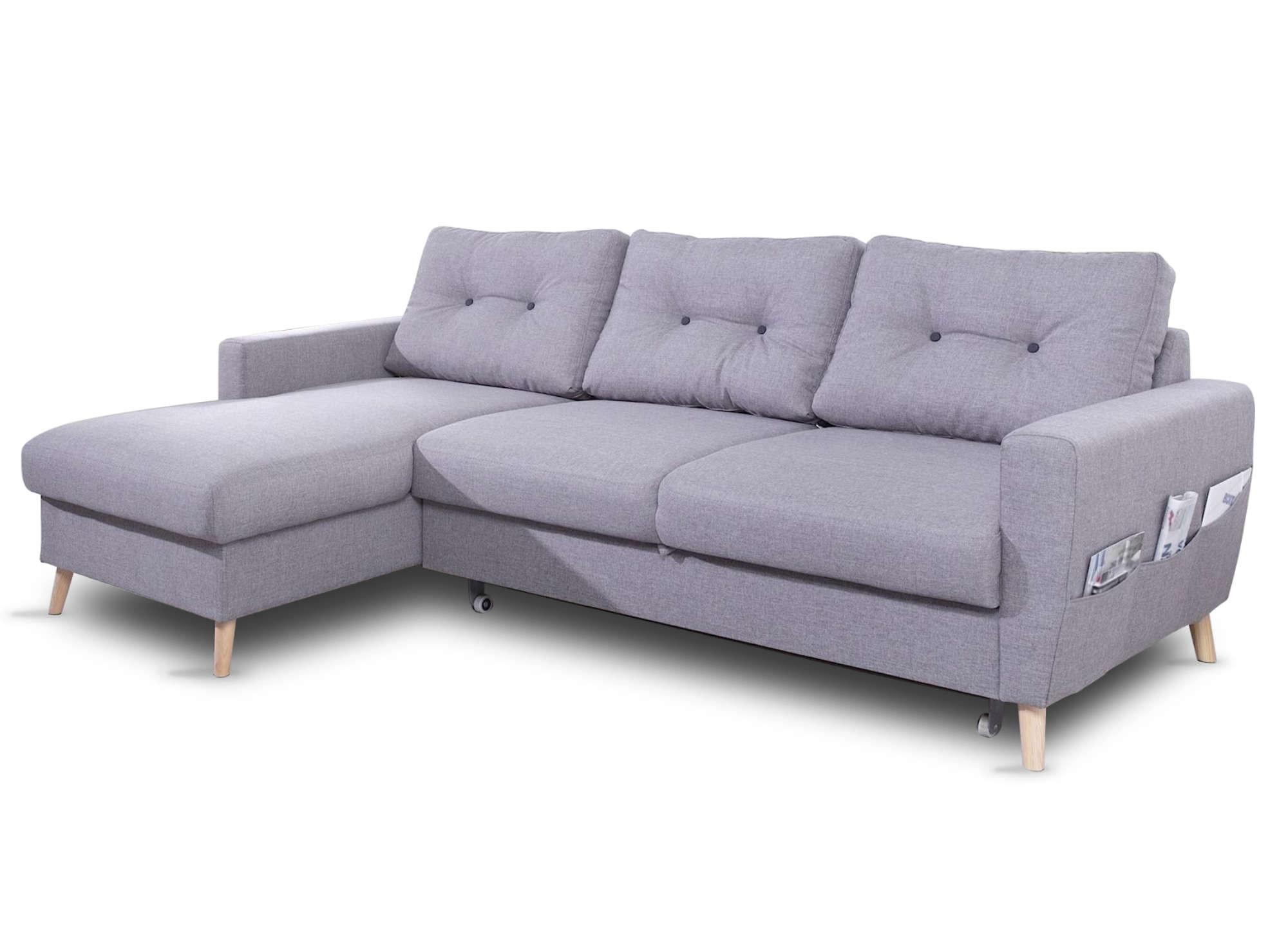 Canapé d'angle gauche convertible 4 places Tissu Gris clair