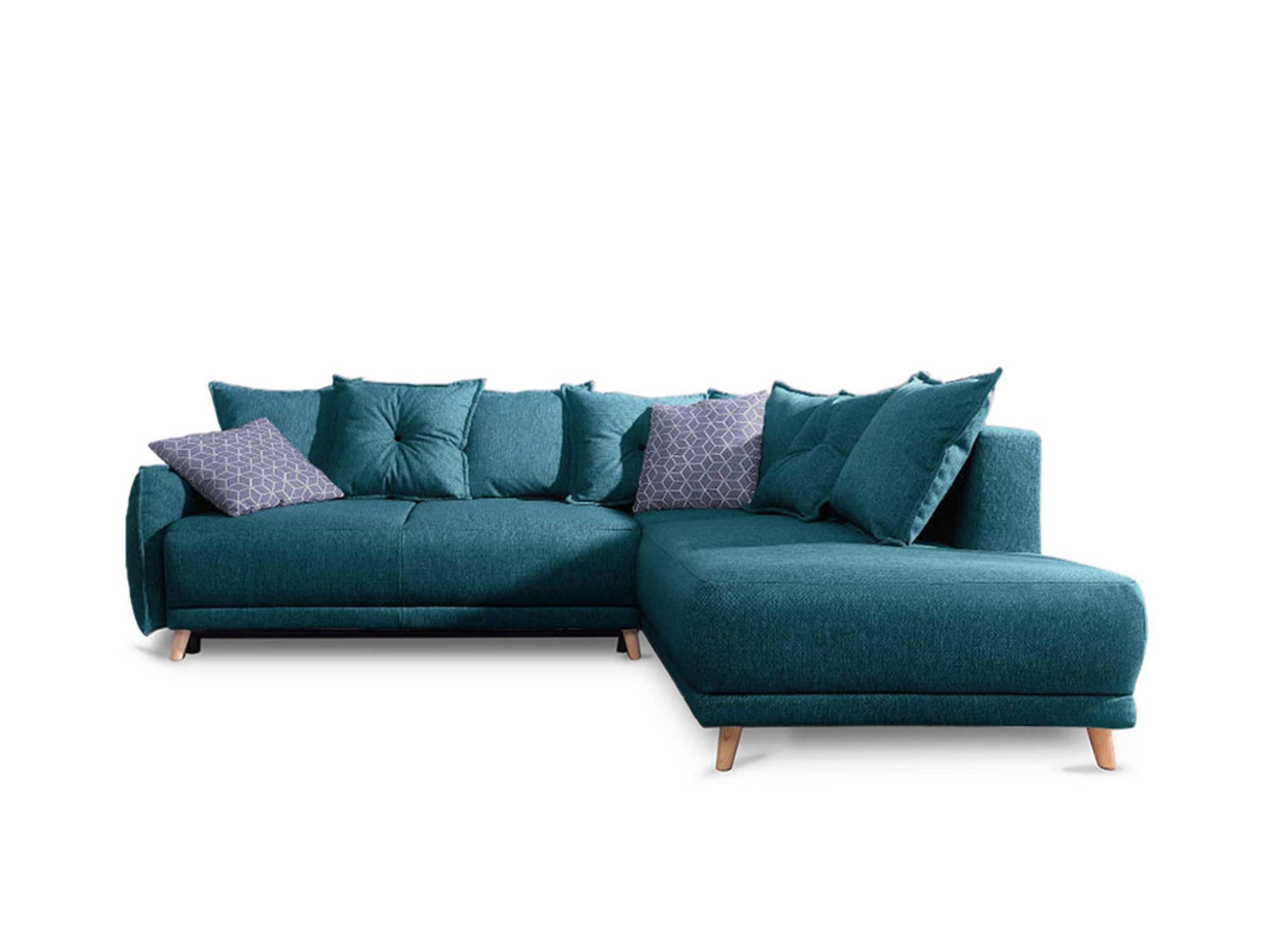 Canapé d'angle 5 places Bleu Tissu Contemporain Confort