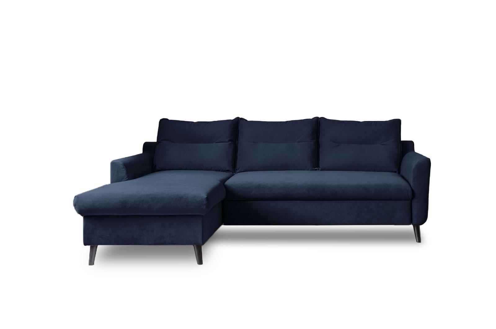 Canapé d'angle gauche convertible 4 places Tissu Bleu marine