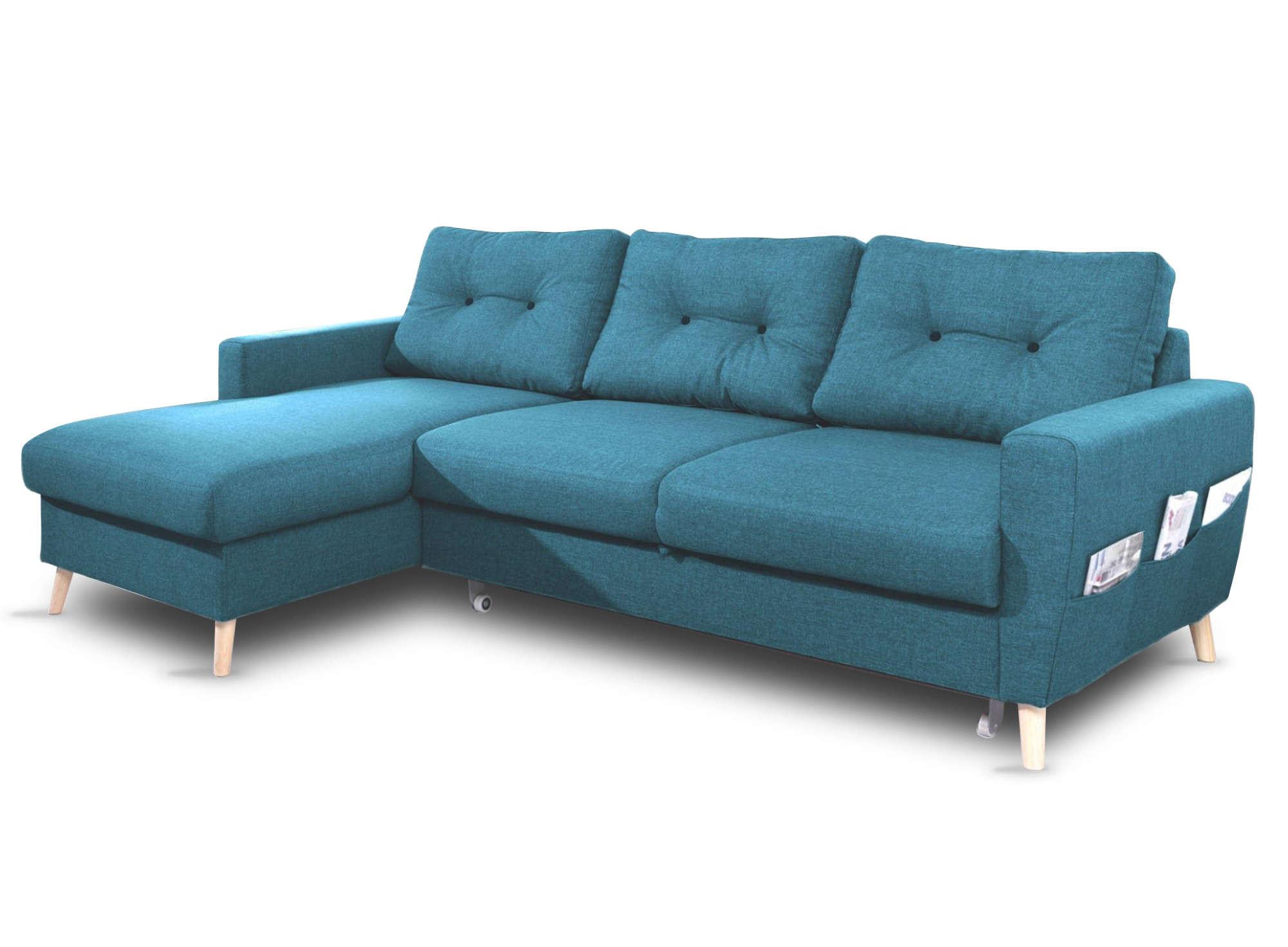 Canapé d'angle 4 places Bleu Tissu Contemporain Confort
