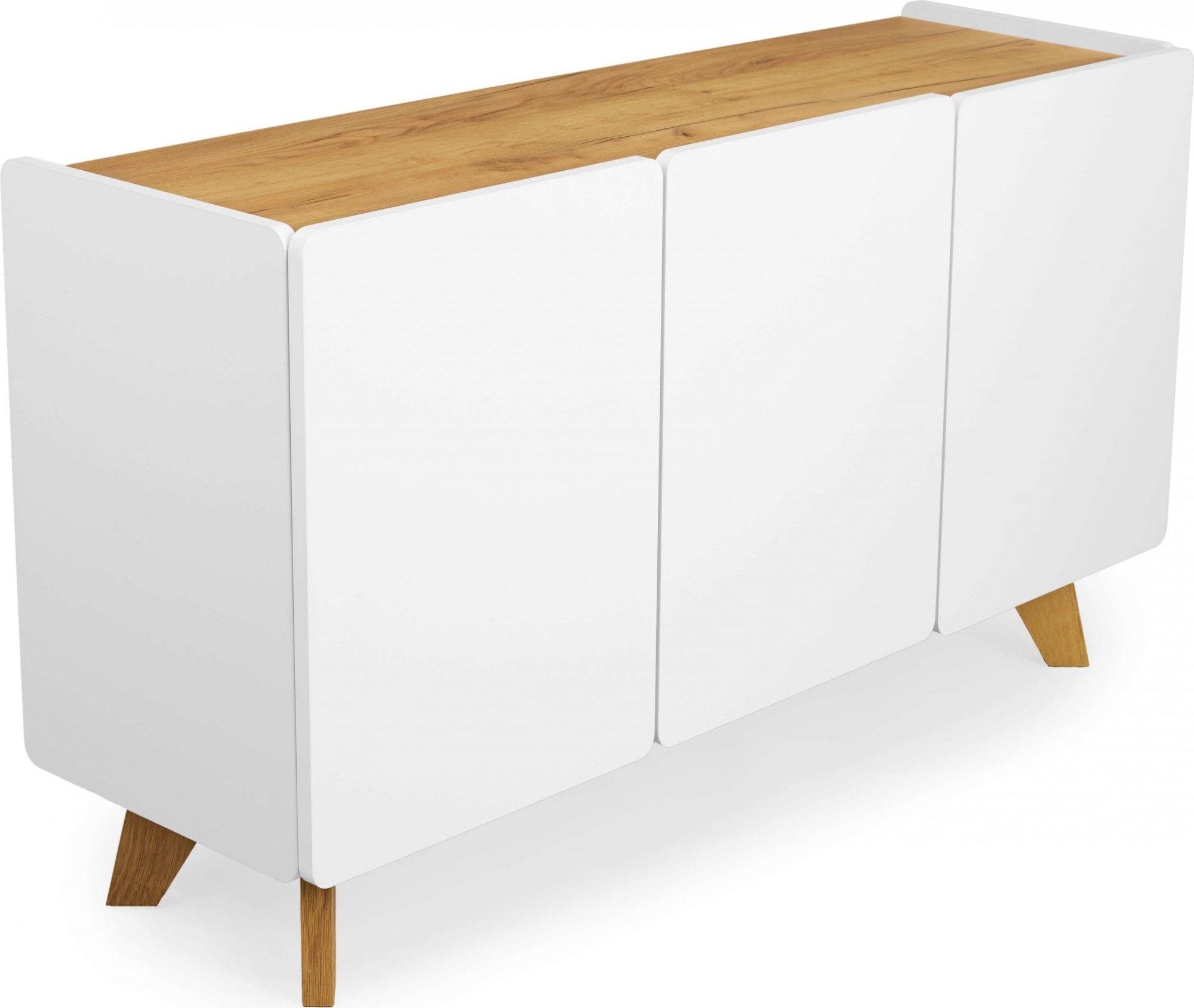 Commode en bois massif 3 portes couleur blanc et bois clair