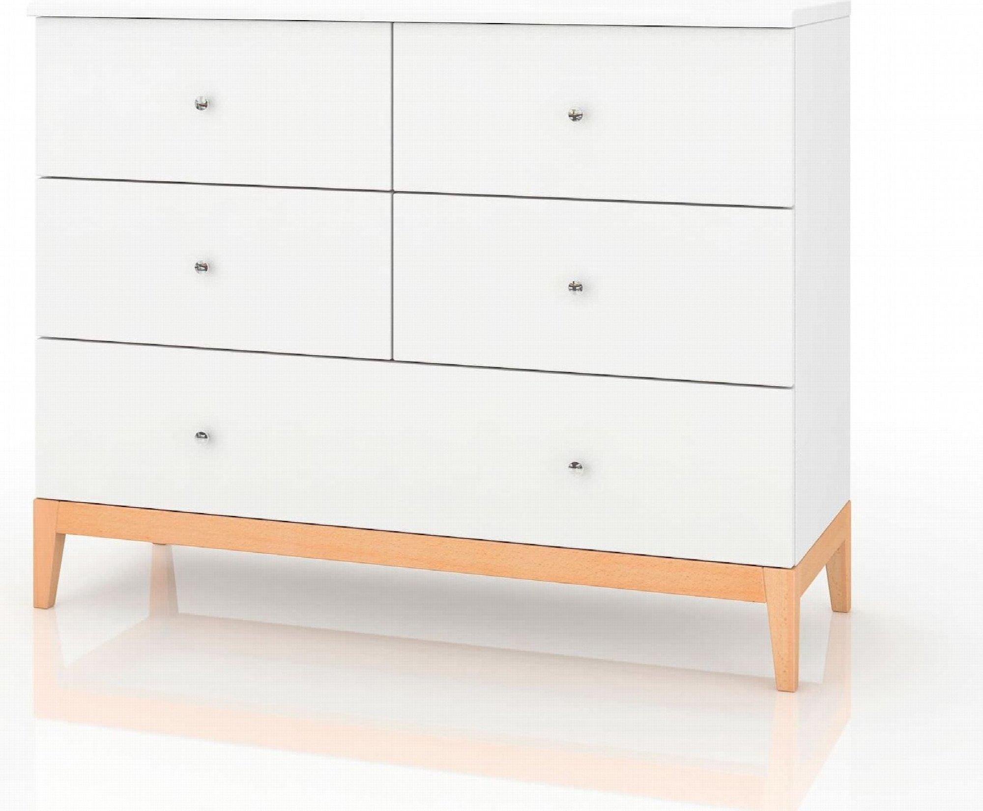 Commode 5 tiroirs en bois coouleur blanc et bois clair