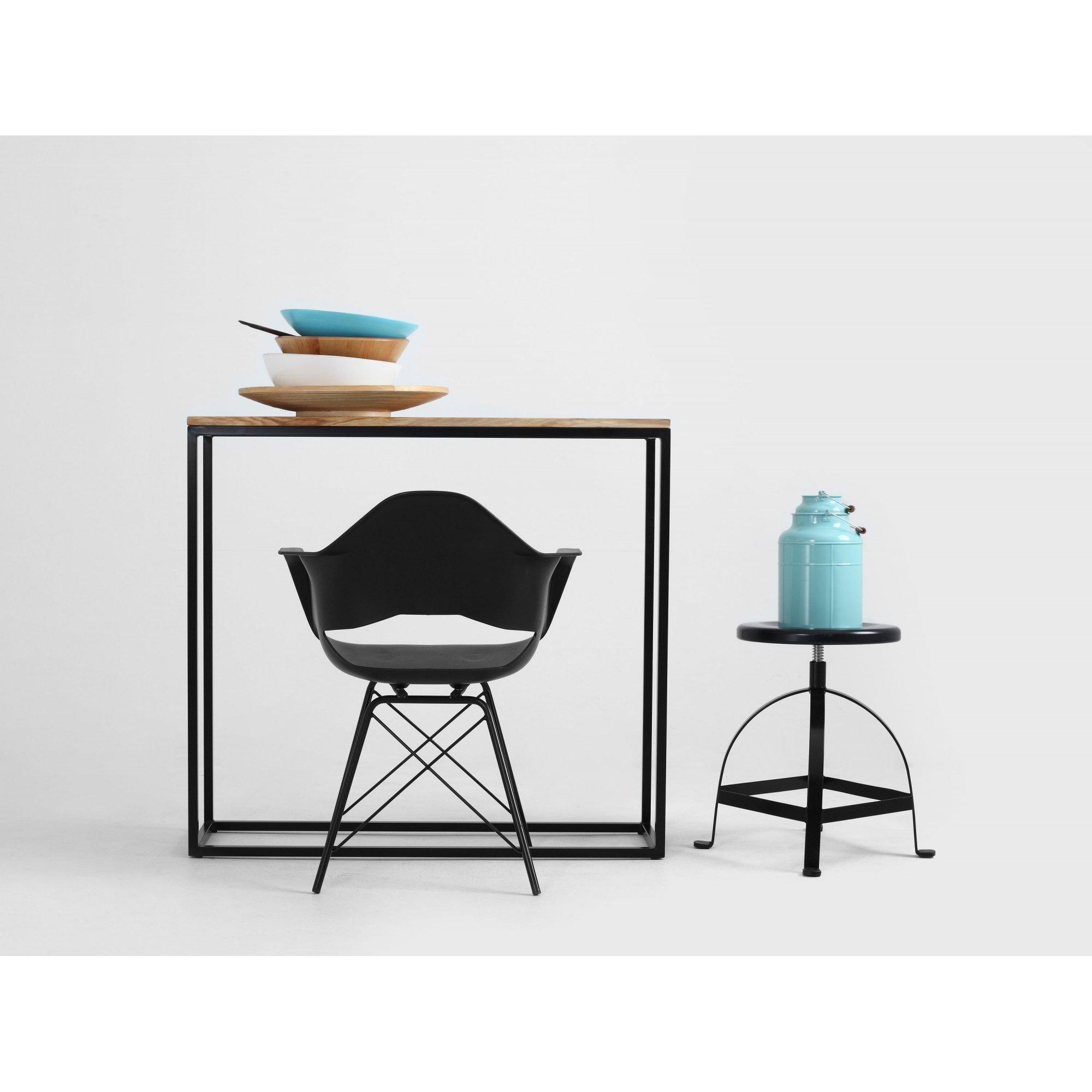 Console minimaliste plateau chêne pied métal noir l100cm