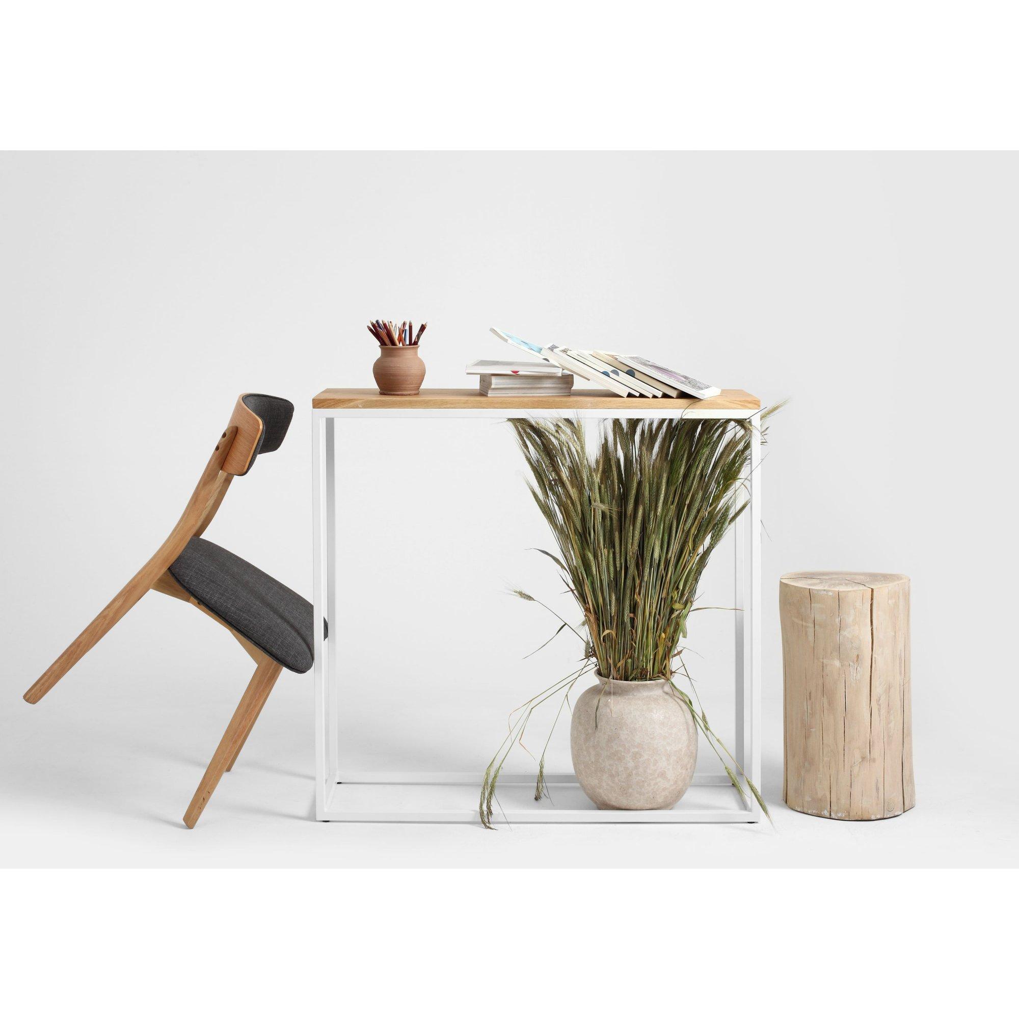 Console minimaliste plateau chêne pied métal blanc l100cm