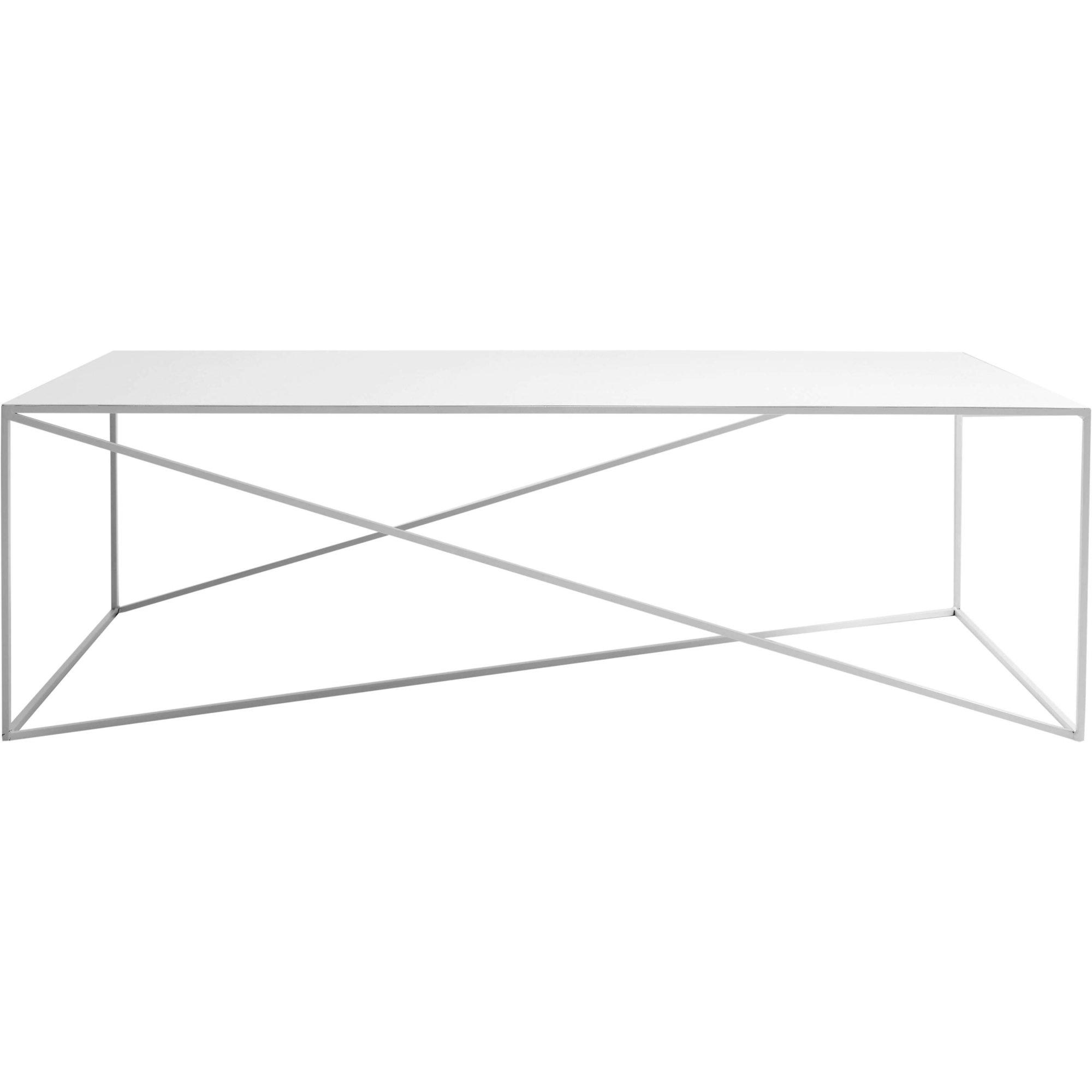 Table basse rectangulaire en métal blanc l140cm