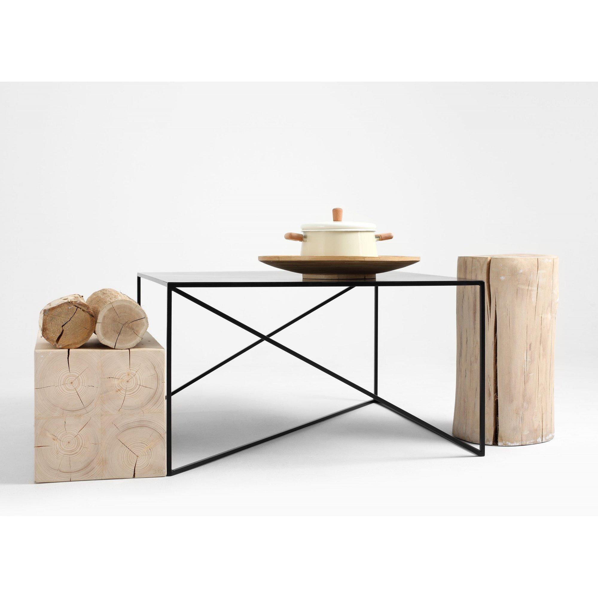 Table basse carré en métal noir l80cm