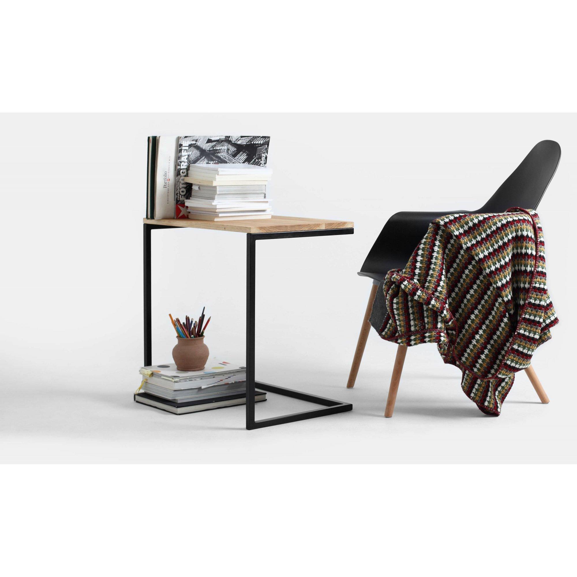 Table basse rectangulaire métal noir et bois chene massif