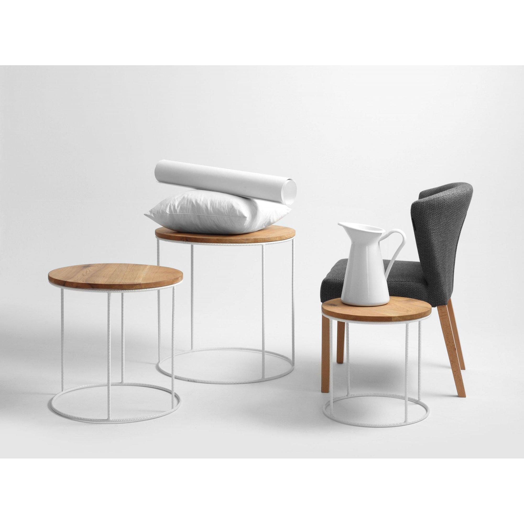 Table gigogne plateau bois struture blanche d60cm