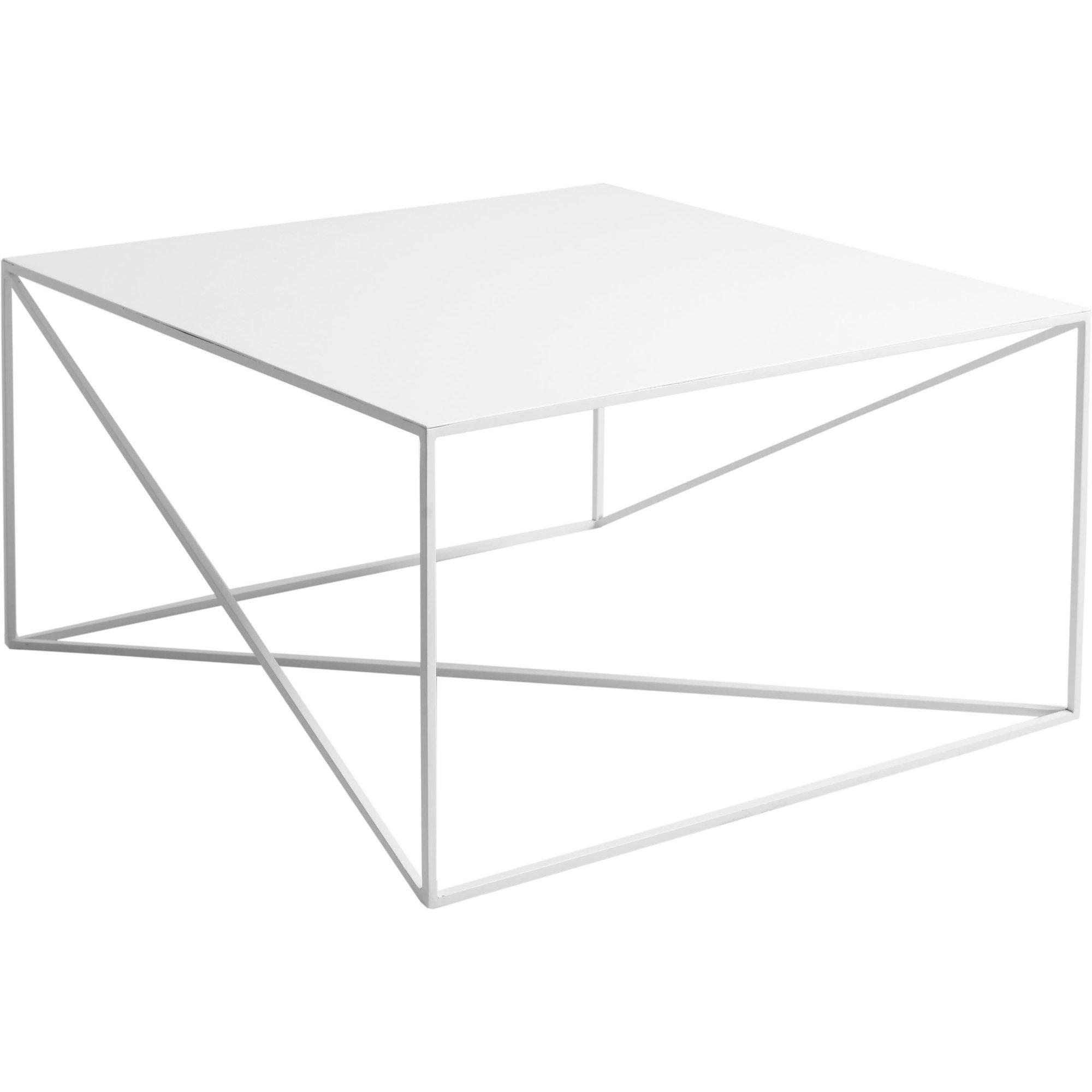Table basse carré en métal blanc l80cm