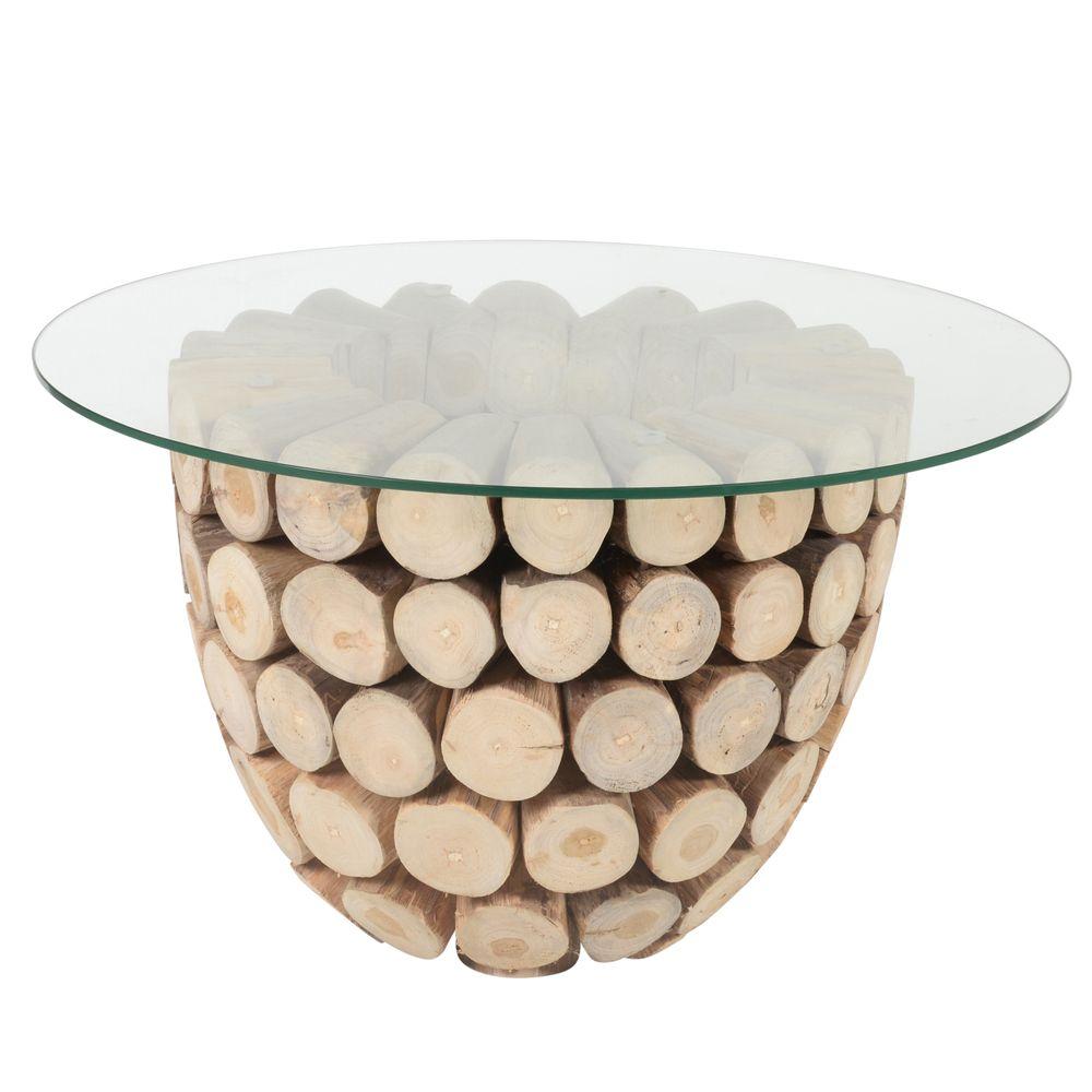 Table basse ronde en rondin et verre