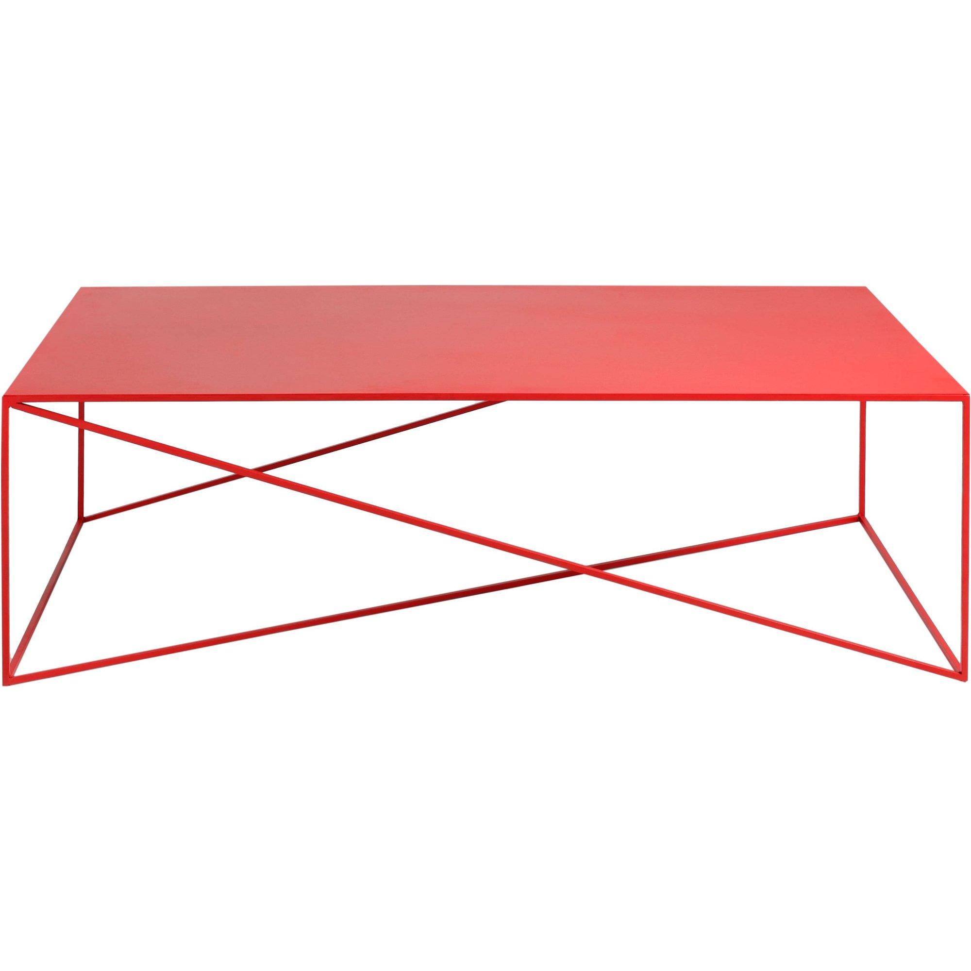 Table basse rectangulaire en métal rouge l140cm