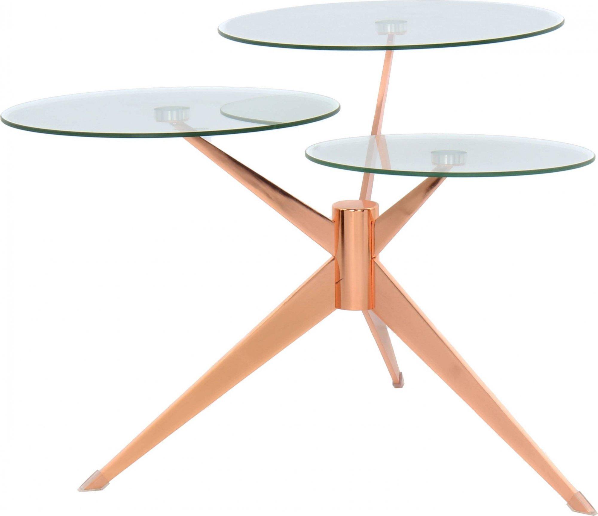 maison du monde Table basse composé 3 plateaux verre structure métal cuivré
