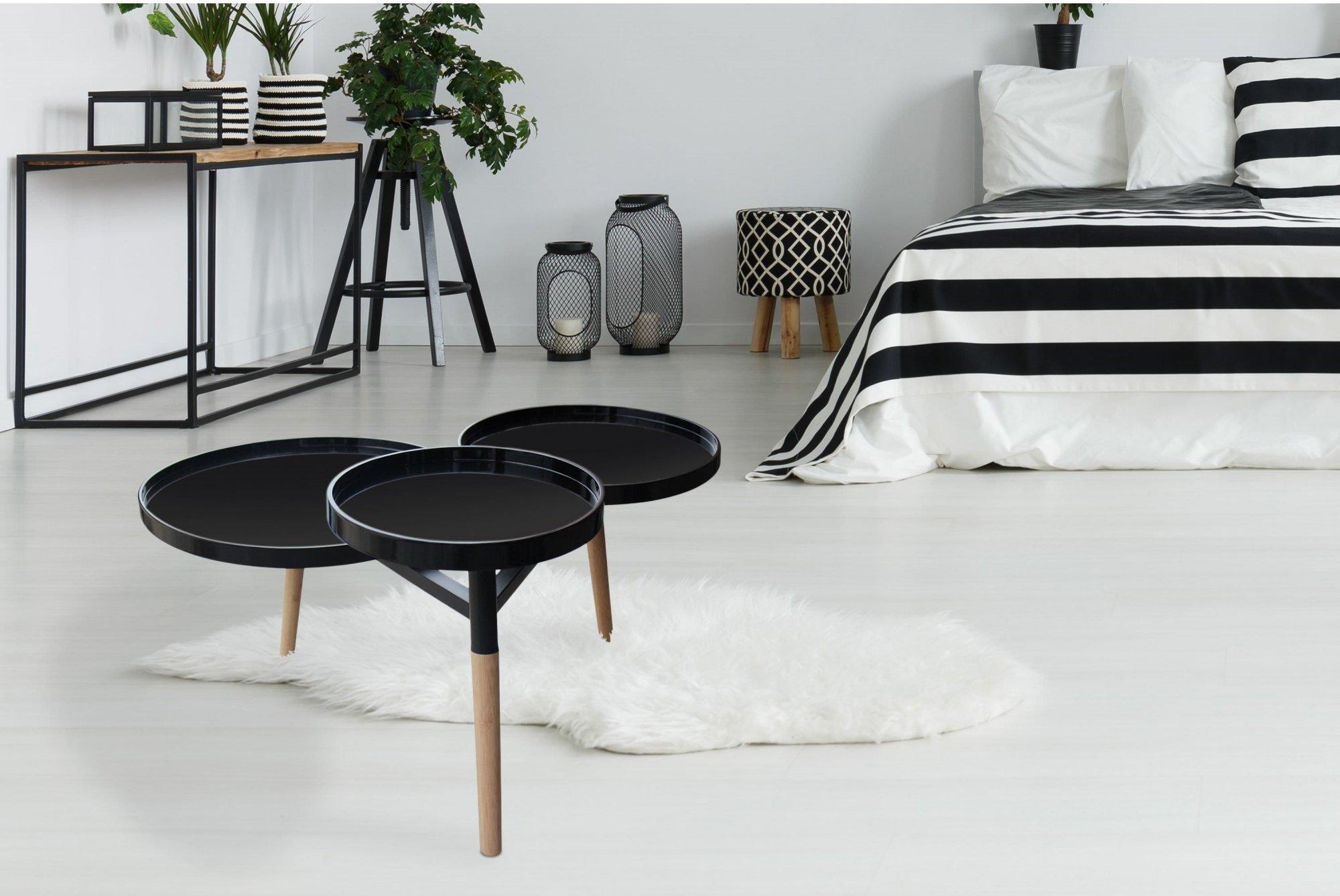 Table basse design 3 palteaux noir pieds bois clair