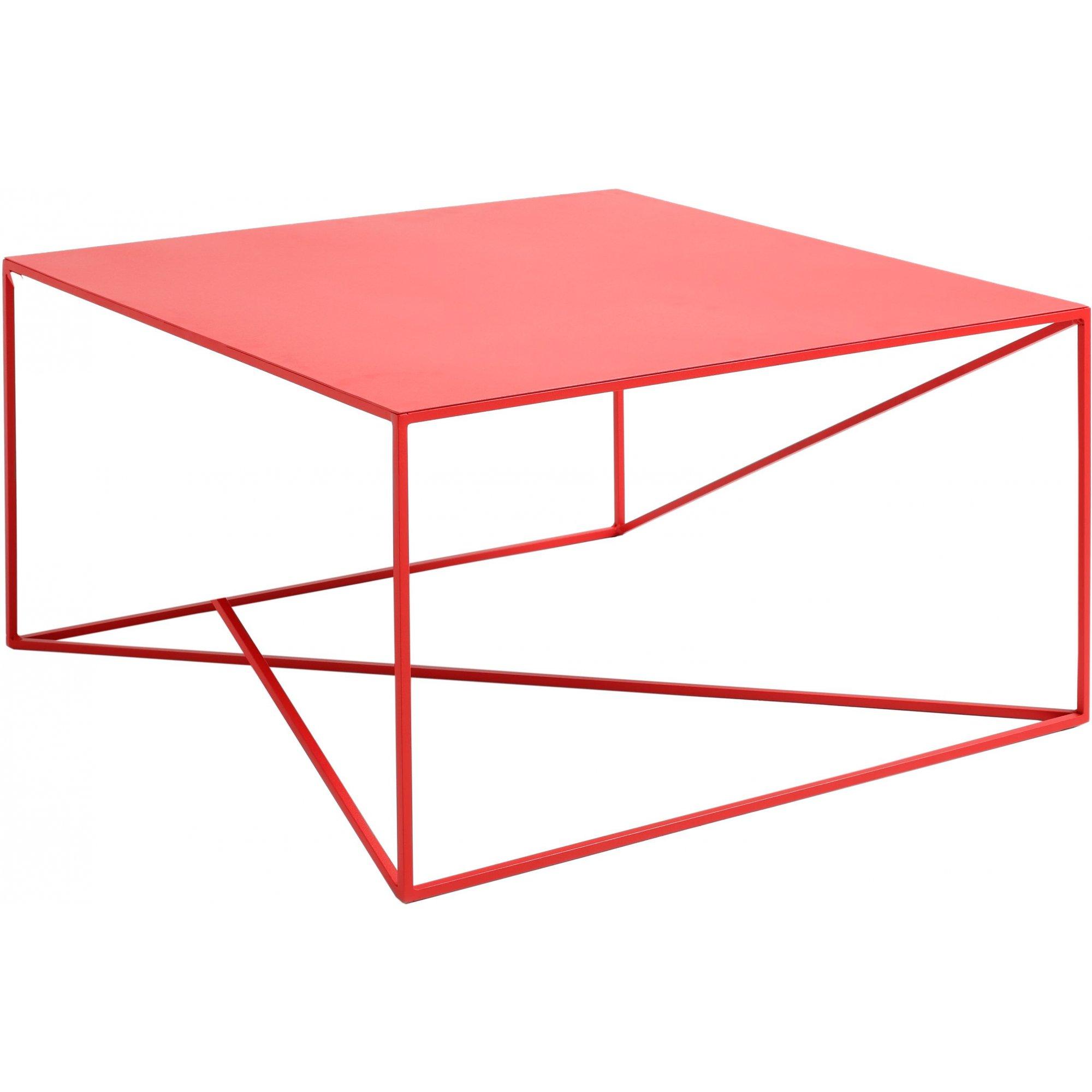 maison du monde Table basse carré en métal rouge l80cm